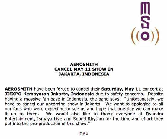 Cancellation letter of Aerosmith, �The Global Warming Tour 2013�